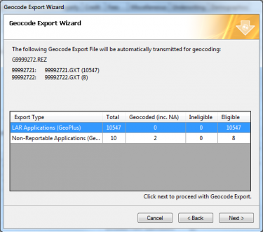 Geocode Export Wizard